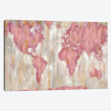 Blushing World Map Canvas Print #WAC9195} by Silvia Vassileva Canvas Print