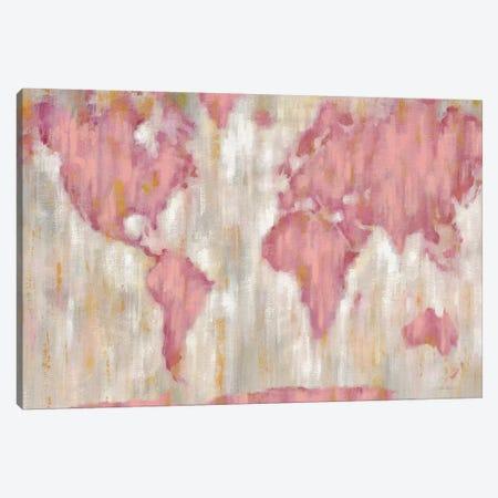 Blushing World Map Canvas Print #WAC9195} by Silvia Vassileva Canvas Print