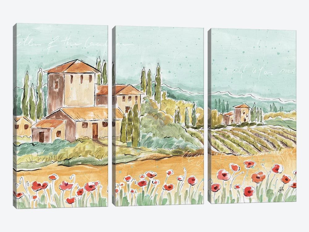 Tuscan Breeze I, No Grapes by Daphne Brissonnet 3-piece Canvas Art