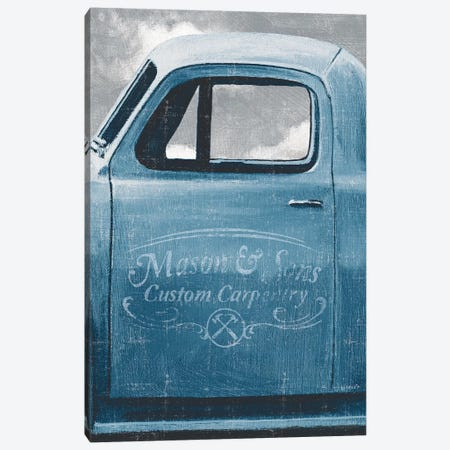 Let's Go For A Ride II, Vintage Blue Canvas Print #WAC9236} by James Wiens Canvas Artwork