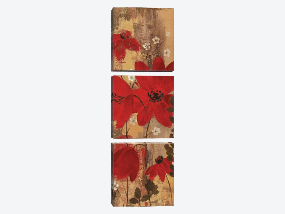 Floral Symphony Red II by Silvia Vassileva 3-piece Canvas Art