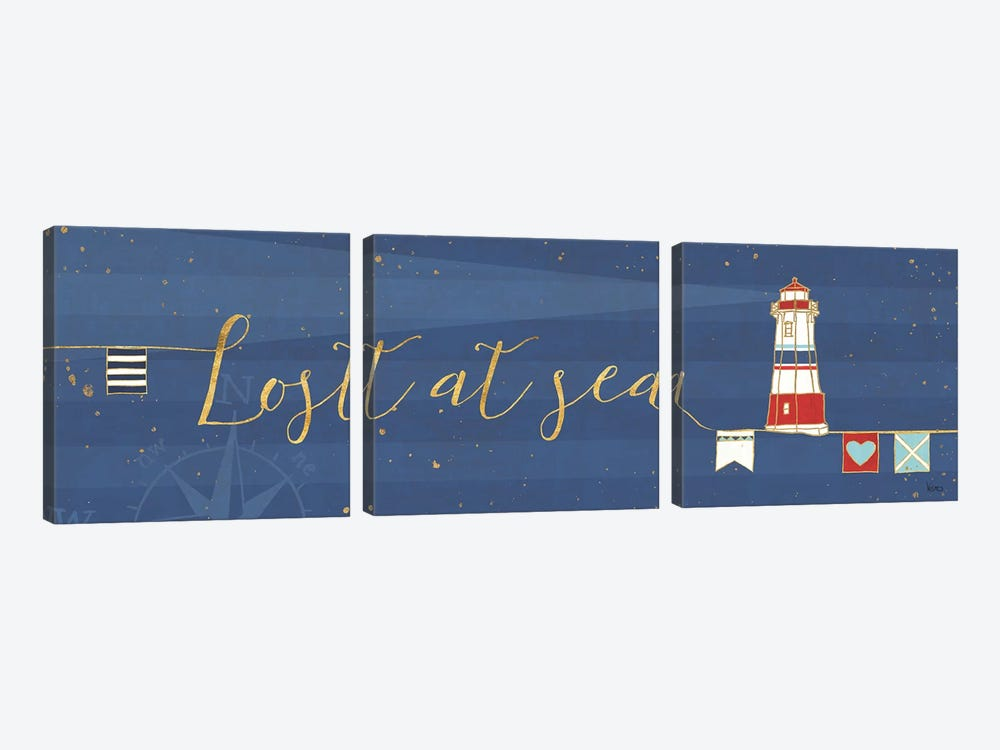 Underlined Nautical V 3-piece Canvas Art