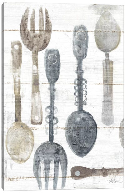 Spoons And Forks II Neutral Canvas Art Print