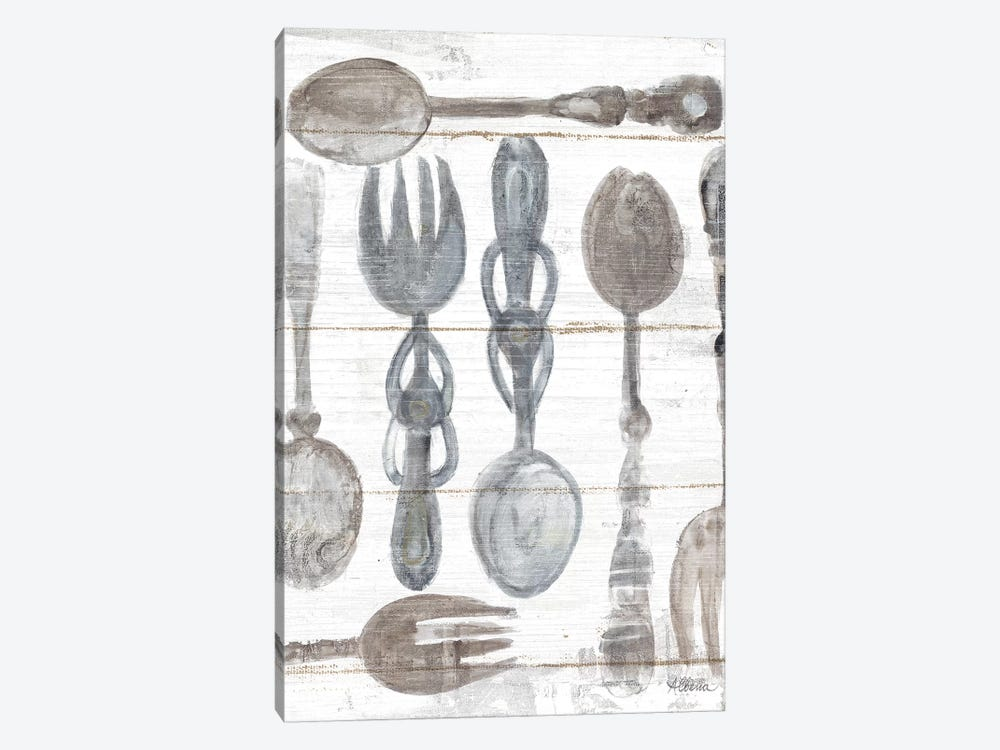 Spoons And Forks III Neutral by Albena Hristova 1-piece Canvas Artwork