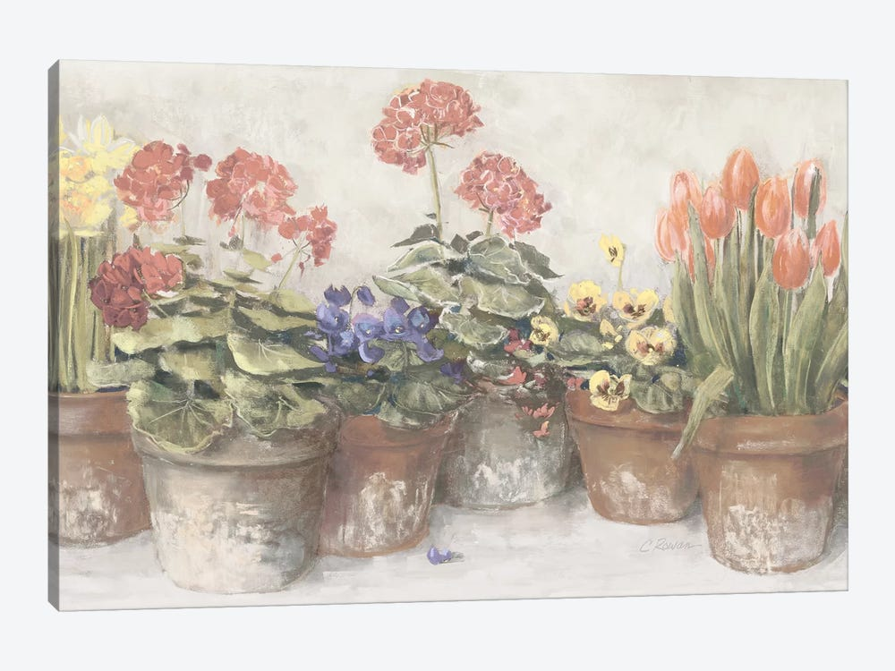 Spring In The Greenhouse Neutral by Carol Rowan 1-piece Canvas Art