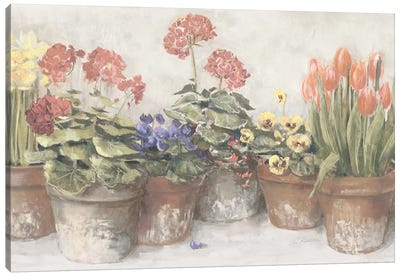 Spring In The Greenhouse Neutral Canvas Art Print