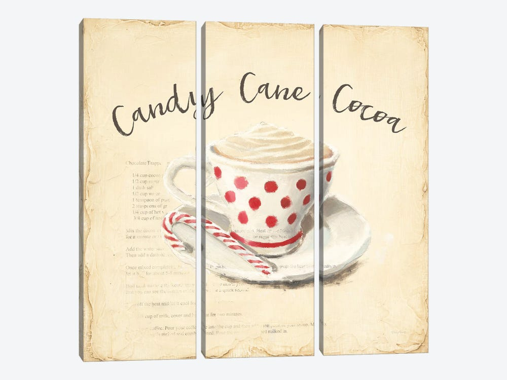 Creme de Noel Candy Cane by Emily Adams 3-piece Canvas Wall Art