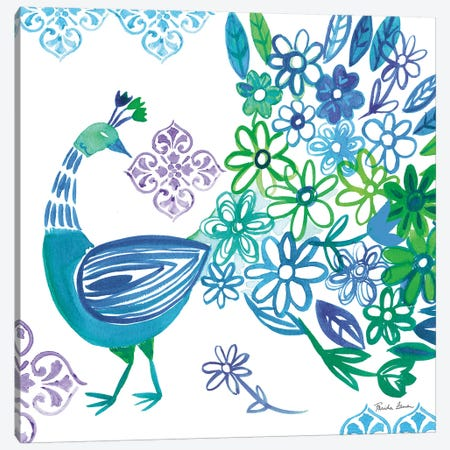 Jewel Peacocks I Canvas Print #WAC9315} by Farida Zaman Canvas Art Print
