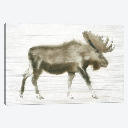 Dark Moose On Wood Crop Canvas Print #WAC9321} by James Wiens Canvas Print