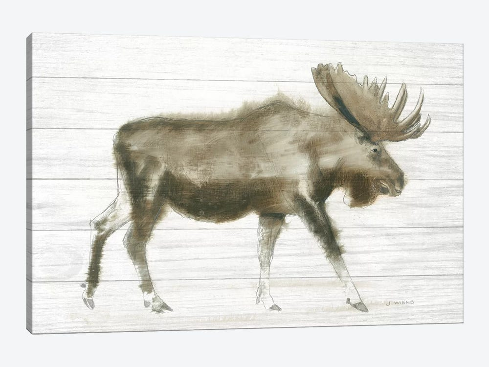 Dark Moose On Wood Crop by James Wiens 1-piece Canvas Wall Art
