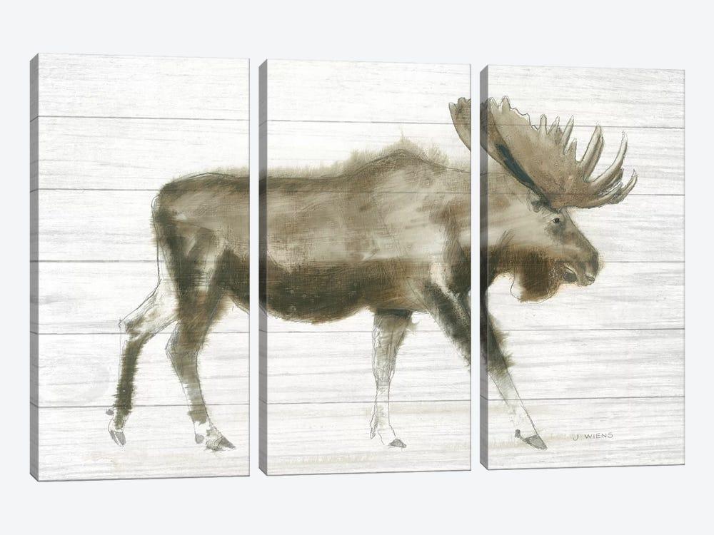 Dark Moose On Wood Crop by James Wiens 3-piece Canvas Art