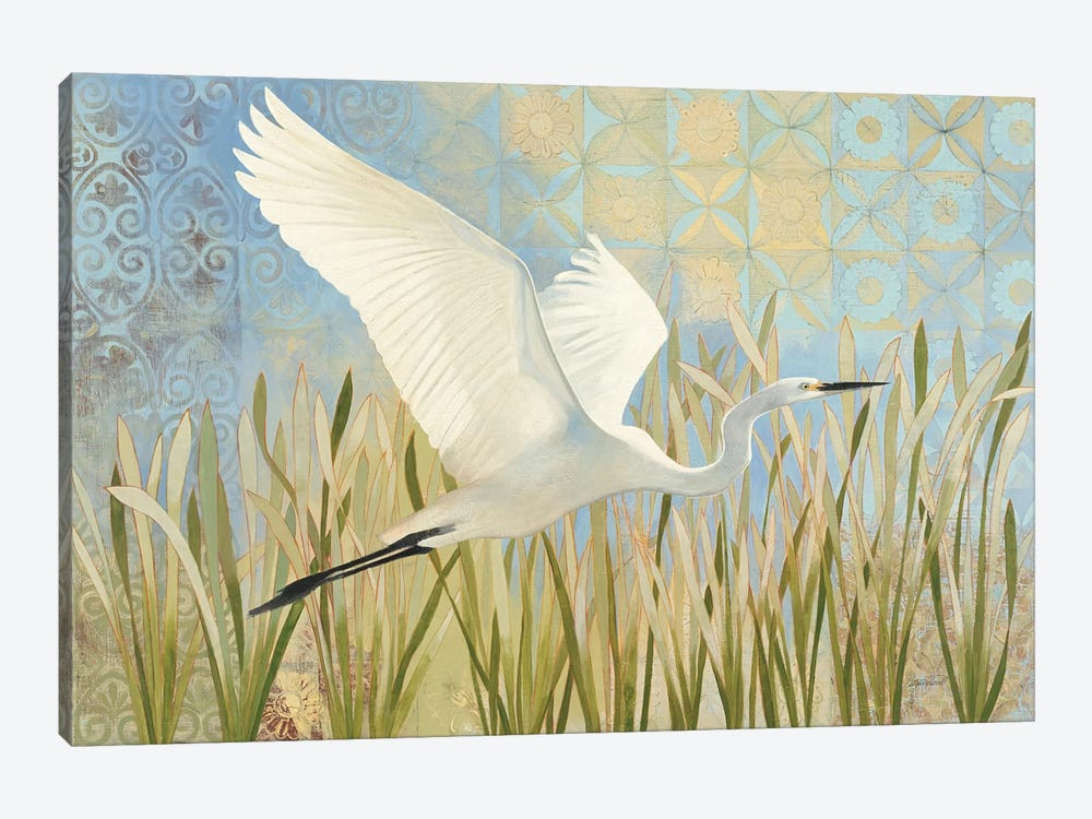 Snowy Egret In Flight by Kathrine Lovell 1-piece Canvas Art Print