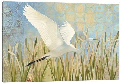 Snowy Egret In Flight Canvas Art Print
