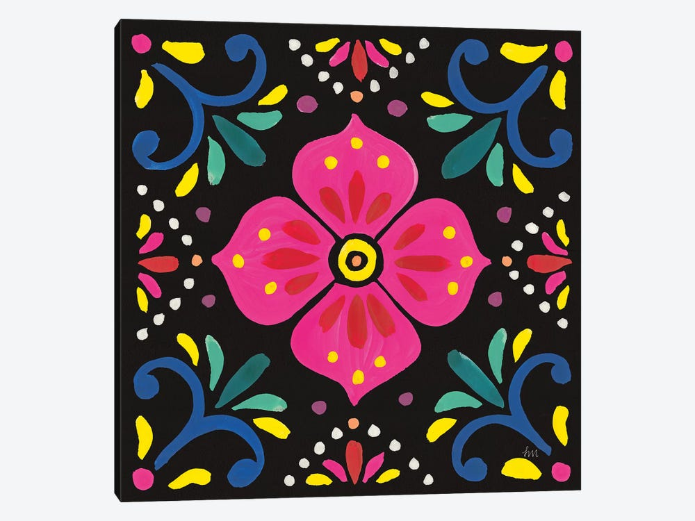 Floral Fiesta Tile IX by Laura Marshall 1-piece Canvas Artwork