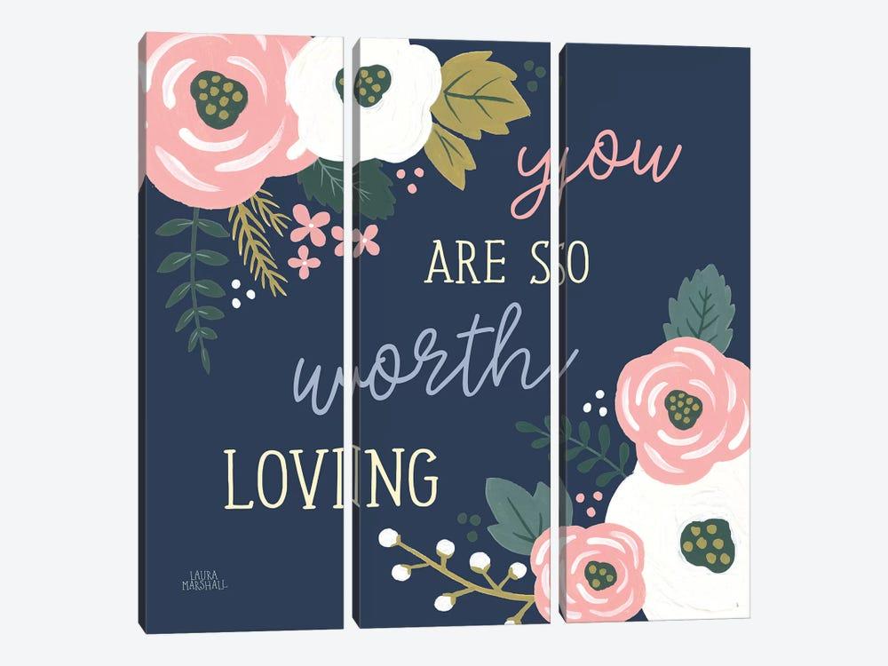 Wildflower Daydreams VII Navy Loving by Laura Marshall 3-piece Art Print