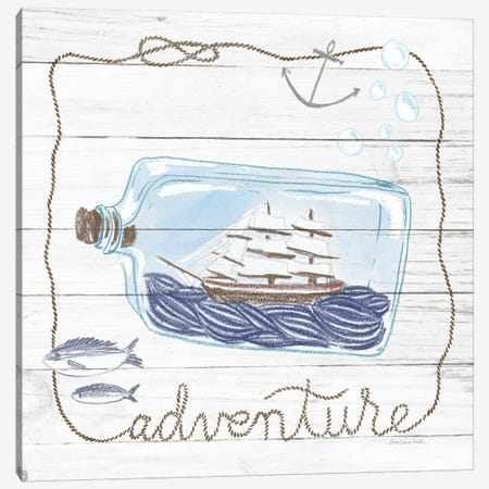 Ship In A Bottle Adventure Shiplap Canvas Print #WAC9388} by Sara Zieve Miller Canvas Print