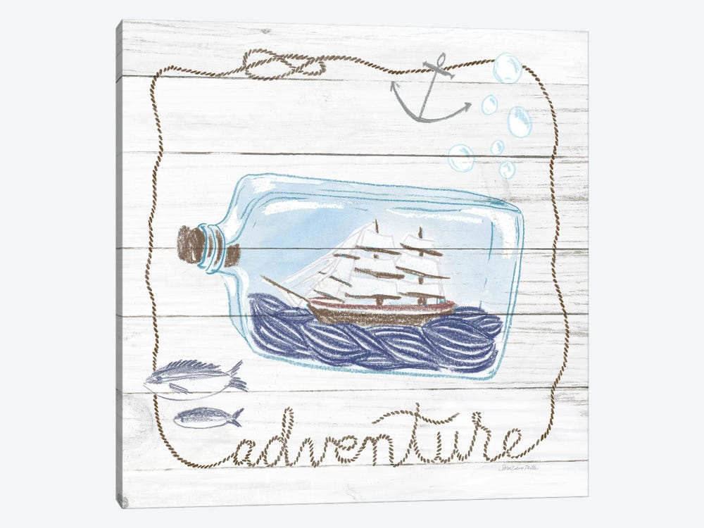 Ship In A Bottle Adventure Shiplap by Sara Zieve Miller 1-piece Canvas Print