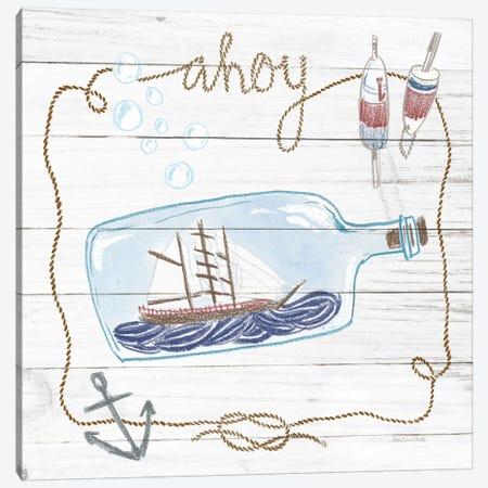 Ship In A Bottle Ahoy Shiplap Canvas Print #WAC9389} by Sara Zieve Miller Art Print