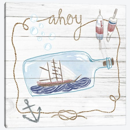 Ship In A Bottle Ahoy Shiplap Canvas Print #WAC9389} by Sara Zieve Miller Art Print