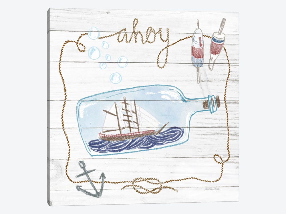Ship In A Bottle Ahoy Shiplap by Sara Zieve Miller 1-piece Canvas Wall Art