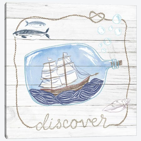 Ship In A Bottle Discover Shiplap Canvas Print #WAC9390} by Sara Zieve Miller Canvas Wall Art