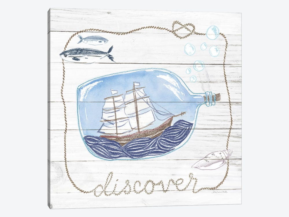 Ship In A Bottle Discover Shiplap by Sara Zieve Miller 1-piece Canvas Wall Art