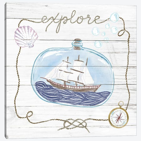Ship In A Bottle Explore Shiplap Canvas Print #WAC9391} by Sara Zieve Miller Canvas Artwork