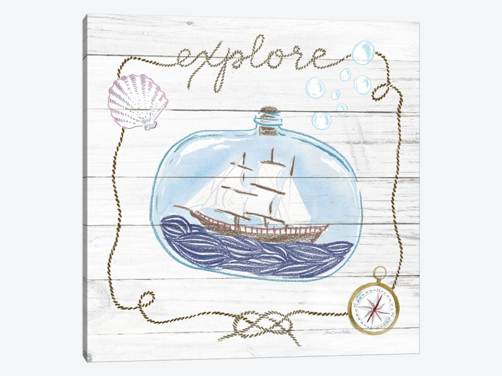 Ship In A Bottle Explore Shiplap by Sara Zieve Miller 1-piece Canvas Print