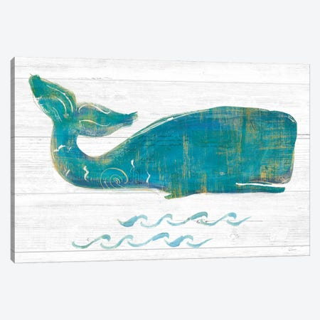 On The Waves I Light Plank Canvas Print #WAC9393} by Sue Schlabach Canvas Wall Art