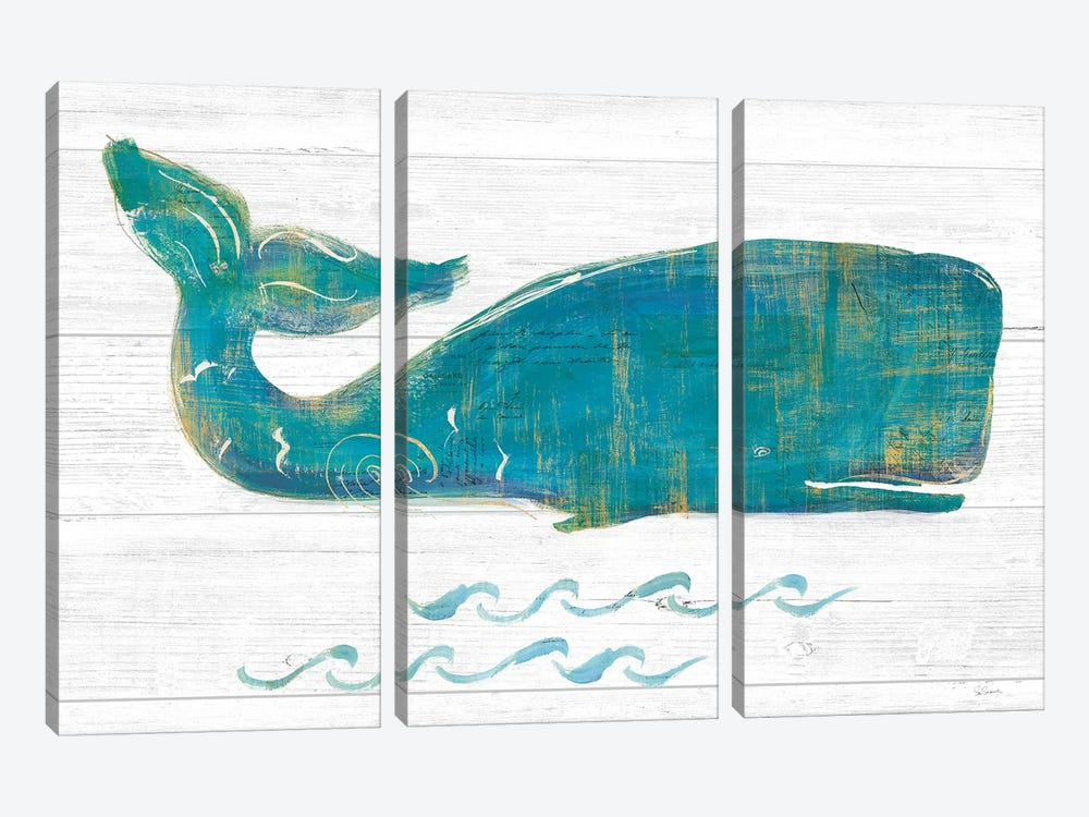 On The Waves I Light Plank by Sue Schlabach 3-piece Canvas Print