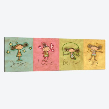Dream Love Believe Sing 3-Piece Canvas #WAC9399} by Anne Tavoletti Canvas Artwork