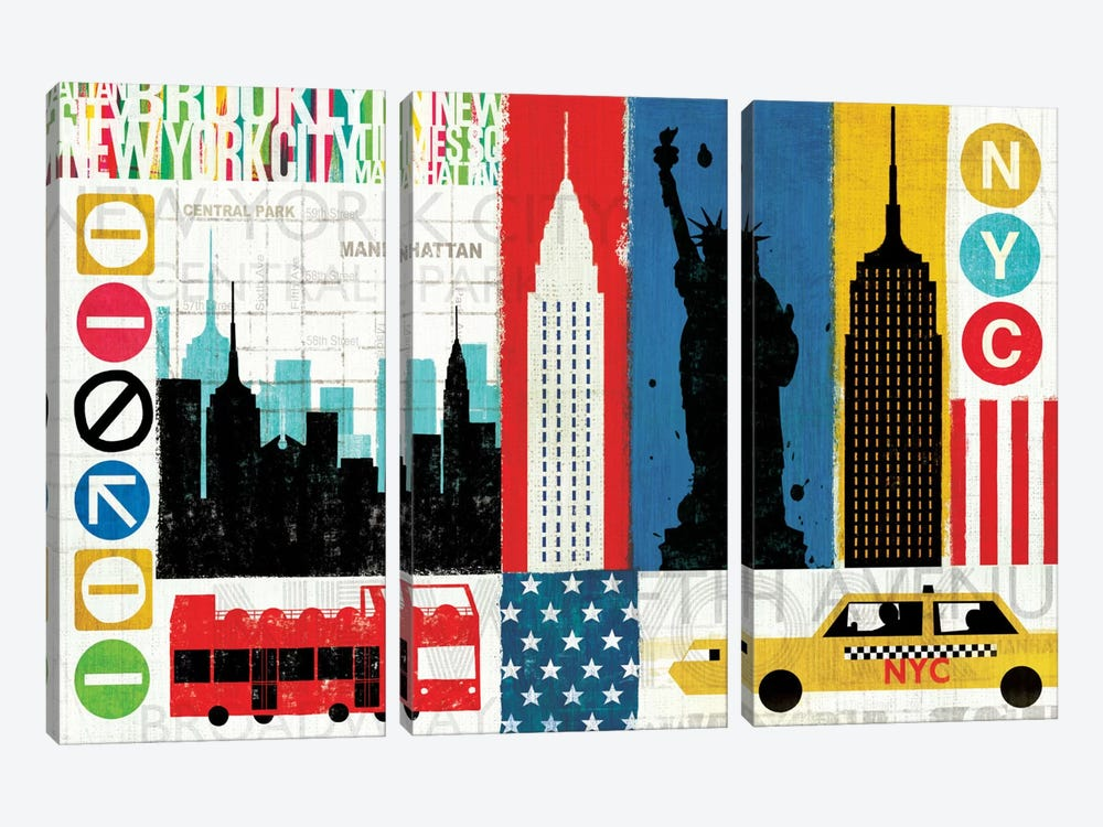 New York City Experience by Michael Mullan 3-piece Canvas Wall Art