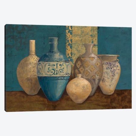 Aegean Vessels on Turquoise Canvas Print #WAC9456} by Avery Tillmon Canvas Art