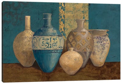 Aegean Vessels on Turquoise Canvas Art Print