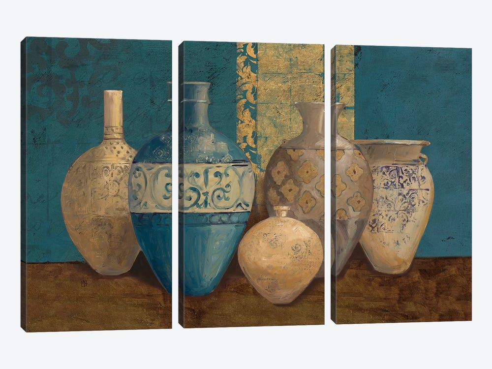 Aegean Vessels on Turquoise by Avery Tillmon 3-piece Canvas Art Print