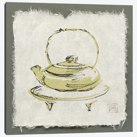 Green Teapot 3-Piece Canvas #WAC9475} by Chris Paschke Canvas Wall Art