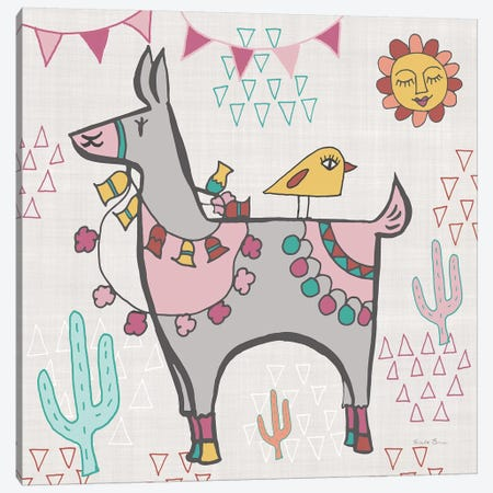 Playful Llamas II Canvas Print #WAC9488} by Farida Zaman Canvas Artwork