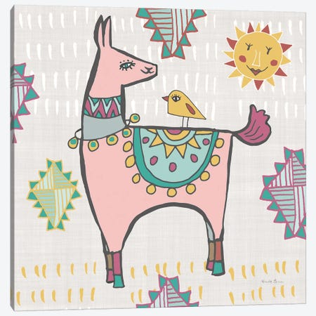 Playful Llamas III Canvas Print #WAC9489} by Farida Zaman Canvas Wall Art