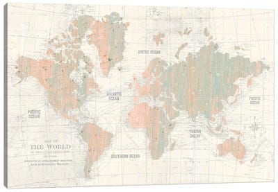Old World Map In Blush and Mint Canvas Art Print