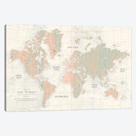 Old World Map In Blush and Mint Canvas Print #WAC9550} by Wild Apple Portfolio Canvas Wall Art