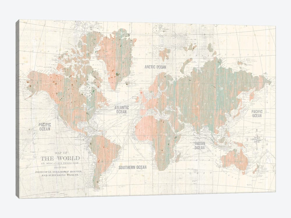 Old World Map In Blush and Mint by Wild Apple Portfolio 1-piece Canvas Art