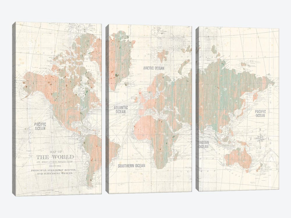 Old World Map In Blush and Mint by Wild Apple Portfolio 3-piece Canvas Wall Art