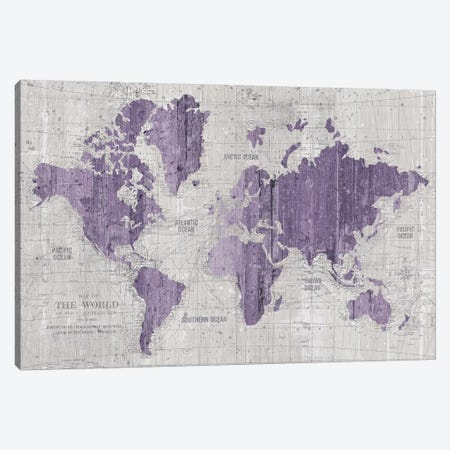 Old World Map In Purple And Gray Canvas Print #WAC9552} by Wild Apple Portfolio Canvas Wall Art