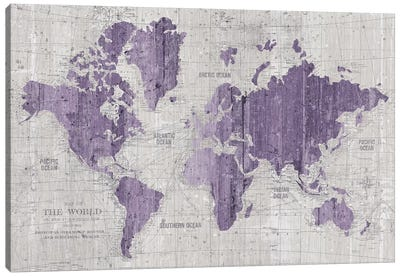 Old World Map In Purple And Gray Canvas Art Print
