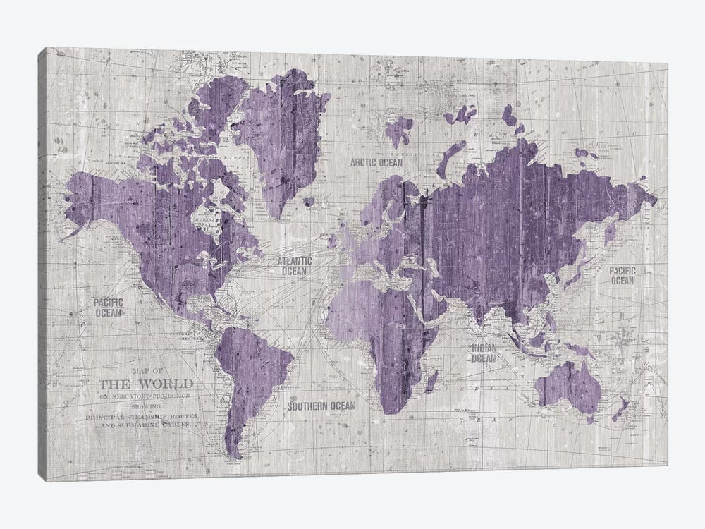 Old World Map In Purple And Gray by Wild Apple Portfolio 1-piece Canvas Artwork