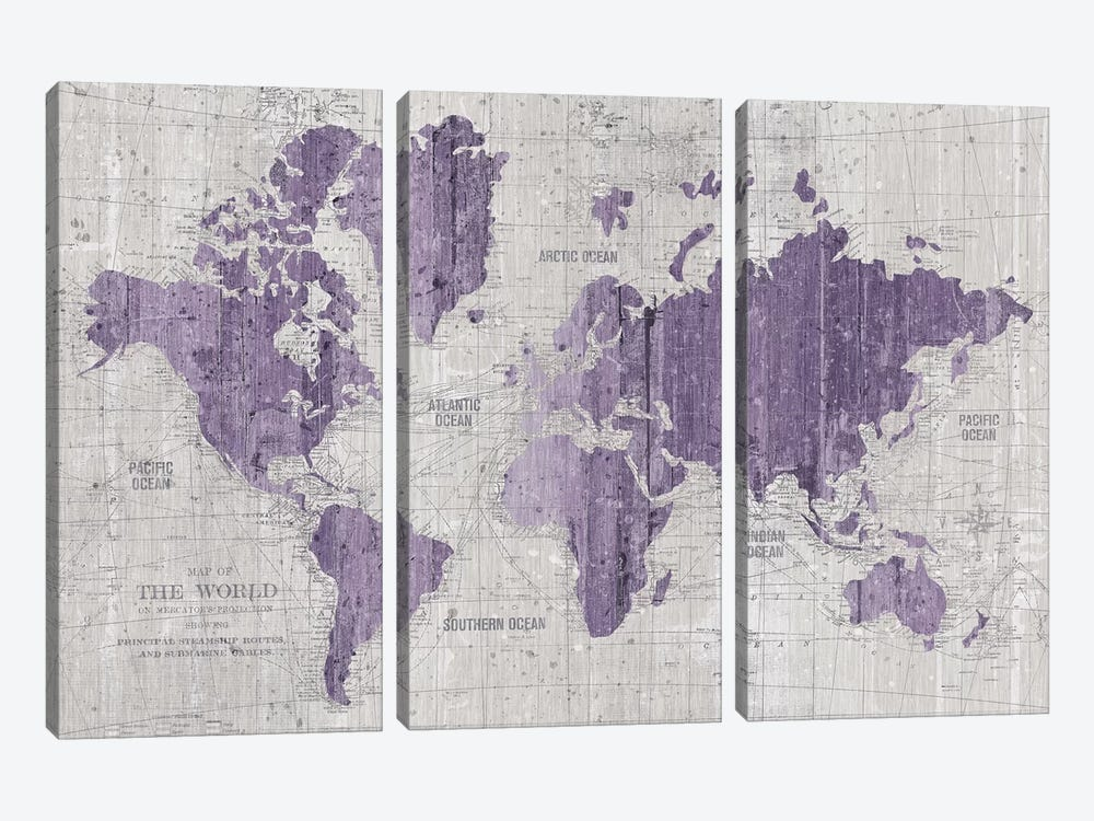 Old World Map In Purple And Gray by Wild Apple Portfolio 3-piece Canvas Wall Art