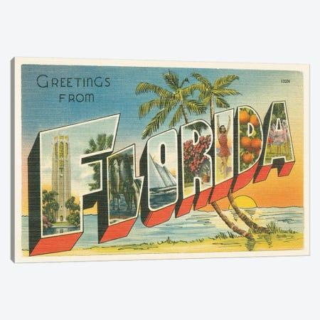 Greetings from Florida v2 3-Piece Canvas #WAC9569} by Wild Apple Portfolio Canvas Art Print