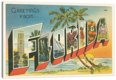 Greetings from Florida v2 Canvas Art Print