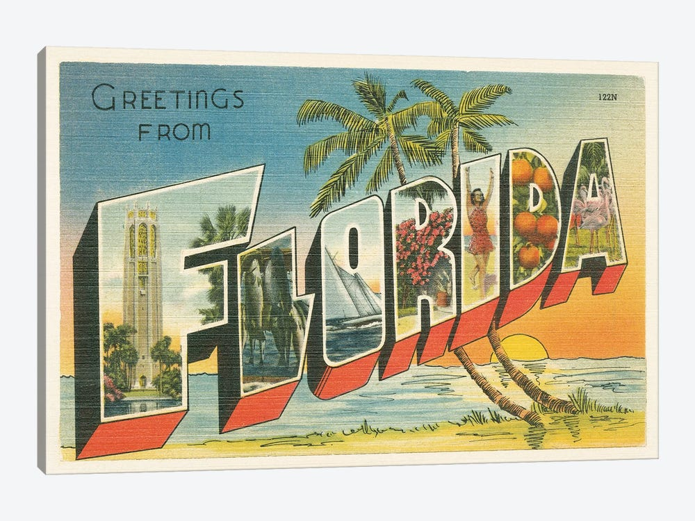 Greetings from Florida v2 by Wild Apple Portfolio 1-piece Canvas Art