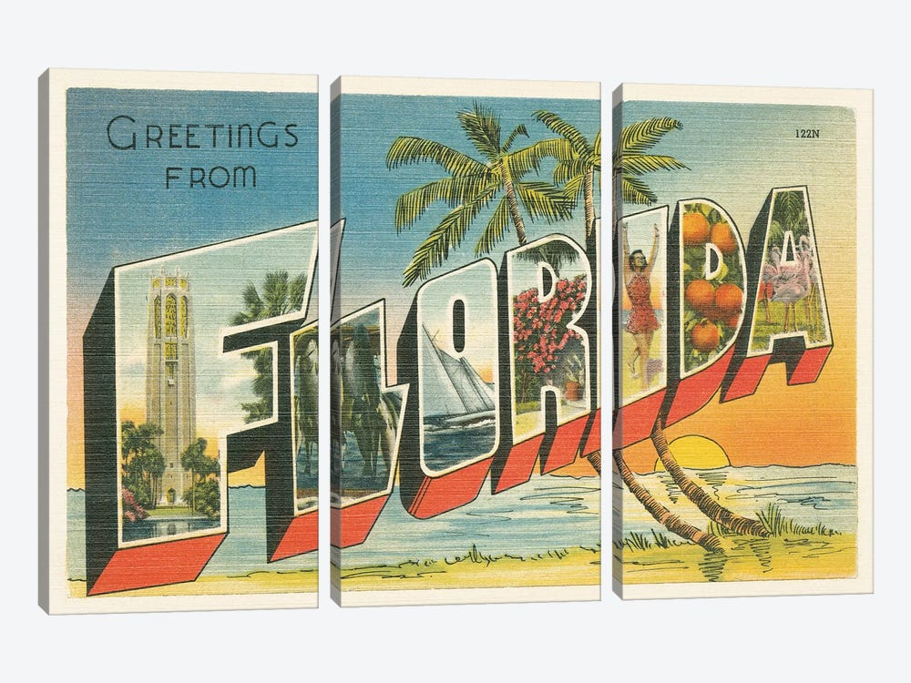 Greetings from Florida v2 by Wild Apple Portfolio 3-piece Canvas Wall Art